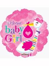 """18"""" Baby Girl Stork Foil Balloon"""