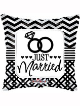 """Just Married 18"""" Square Foil Balloon"""