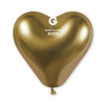 "Gemar Shiny Gold 12"" Heart Latex Balloons 25pk"