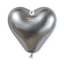 "Gemar Shiny Silver 12"" Heart Latex Balloons 25pk"