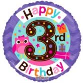 "Happy 3rd Birthday Owl Foil Balloon 18"""