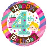 "Happy 4th Birthday Princess Foil Balloon 18"""
