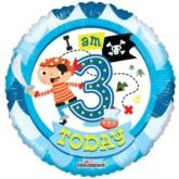"3rd Birthday Pirate Foil Balloon 18"""