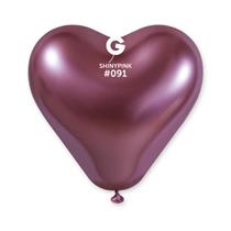 "Gemar Shiny Pink 12"" Heart Latex Balloons 25pk"