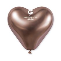 "Gemar Shiny Rose Gold 12"" Heart Latex Balloons 25pk"