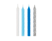 Blue, White & Silver Spiral Cake Candles 12pk