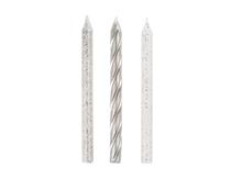 White Glitter & Silver Spiral Cake Candles 12pk