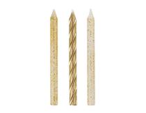 Gold Glitter & Spiral Cake Candles 12pk