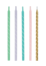 """Tall 5"""" Assorted Pastel Spiral Cake Candles 12pk"""