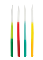 """Tall 5"""" Ombre Assorted Colour Cake Candles 12pk"""