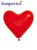 "Sempertex Fashion Red 16"" Latex Heart Balloons 50pk"