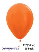 Sempertex 12 Inch orange metallic latex balloons