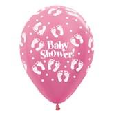 "Pearl Fuchsia Baby Shower Footprints 12"" Latex 25pk"