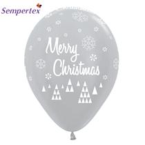 "Sempetex - Silver Merry Christmas 12"" Latex Balloons 25pk"