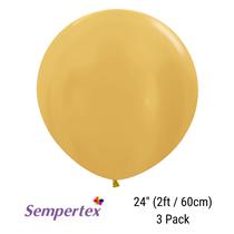 "Sempertex Metallic Gold 24"" Latex Balloons 3pk"