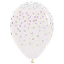 "Small Pastel Dots Crystal Clear 12"" Latex Balloons 25pk"