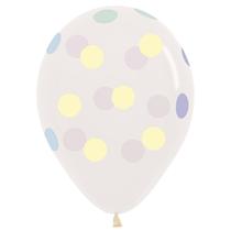 "Large Pastel Dots 12"" Crystal Clear Latex Balloons 25pk"