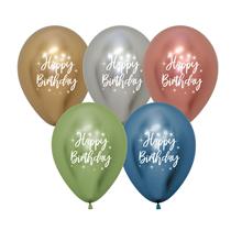 "Reflex Assorted Happy Birthday 12"" Latex Balloons 25pk"