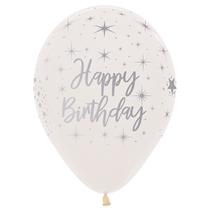 "Happy Birthday Crystal Clear 12"" Latex Balloons 25pk"