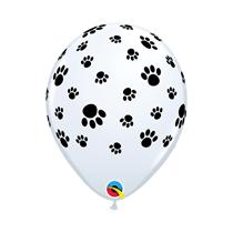 """Paw Prints-A-Round White 11"""" Latex Balloons 6pk"""