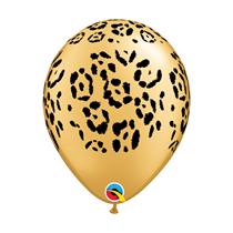 "Leopard Spots Gold Metallic 11"" Latex Balloons 6pk"