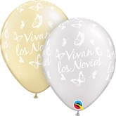 "Vivan Los Novios 11"" Pearl White & Ivory Latex Balloons 25pk"