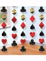 Casino Party Hanging String Decorations 6pk