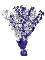 """Purple Birthday Glitz Age 50 Foil Balloon Weight Centrepiece 16.5"""""""