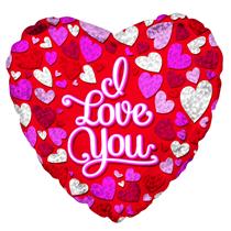 "Valentine's I Love You Prism Hearts 17"" Foil Balloon"