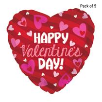 "Valentine's Day Stripes 17"" Foil Balloon 5pk"