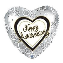 "Happy Anniversary Silver Swirls 17"" Foil Balloon"