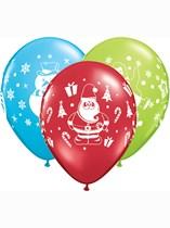 "Christmas Snowman, Penguin & Santa 11"" Latex Balloons 6pk"