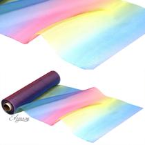 Rainbow multi coloured Organza Fabric
