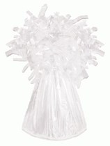 White 6oz Foil Tassel Balloon Weight