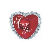"I Love You Ruffle 14"" Mini Heart Foil Balloon"