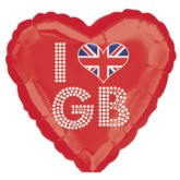 "18"" I Love GB Heart Shaped Foil Balloon"