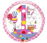 "Pink 1st Birthday 18"" Rachel Ellen Foil Balloon"