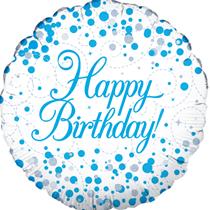 "Happy Birthday Sparkling Fizz 18"" Blue Foil Balloon"