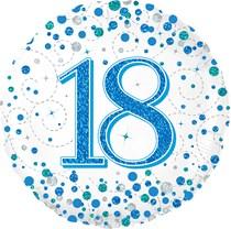 "Blue Sparkling Fizz 18th Birthday 18"" Foil Balloon"