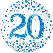 "Blue Sparkling Fizz 20th Birthday 18"" Foil Balloon"