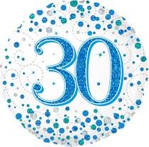 "Blue Sparkling Fizz 30th Birthday 18"" Foil Balloon"