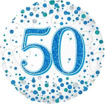 "Blue Sparkling Fizz 50th Birthday 18"" Foil Balloon"