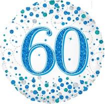 "Blue Sparkling Fizz 60th Birthday 18"" Foil Balloon"