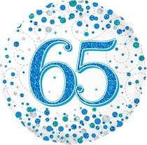 "Blue Sparkling Fizz 65th Birthday 18"" Foil Balloon"