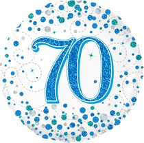 "Blue Sparkling Fizz 70th Birthday 18"" Foil Balloon"