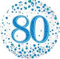"Blue Sparkling Fizz 80th Birthday 18"" Foil Balloon"