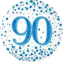 "Blue Sparkling Fizz 90th Birthday 18"" Foil Balloon"