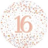 """16th Birthday Sparkling Fizz White 18"""" Foil Balloon"""