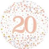 """20th Birthday Sparkling Fizz White 18"""" Foil Balloon"""