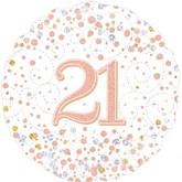 """21st Birthday Sparkling Fizz White 18"""" Foil Balloon"""